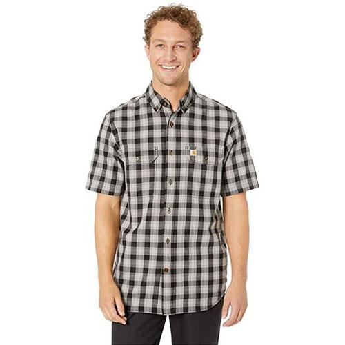 Men's Fort Plaid Chambray Short Sleeve Shirt Tall, Black, swatch