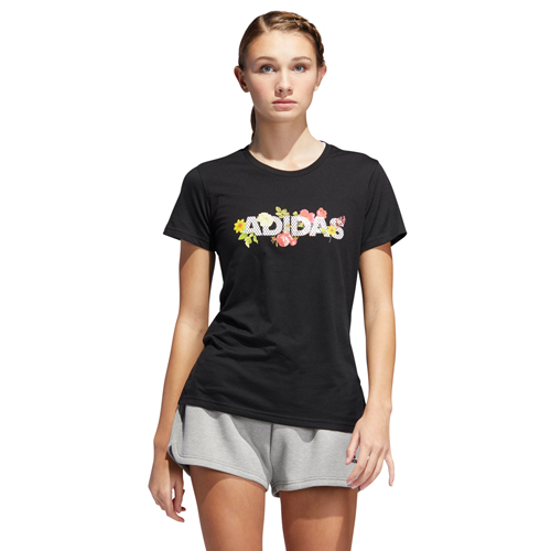 Women's Floral Tee, Black, swatch