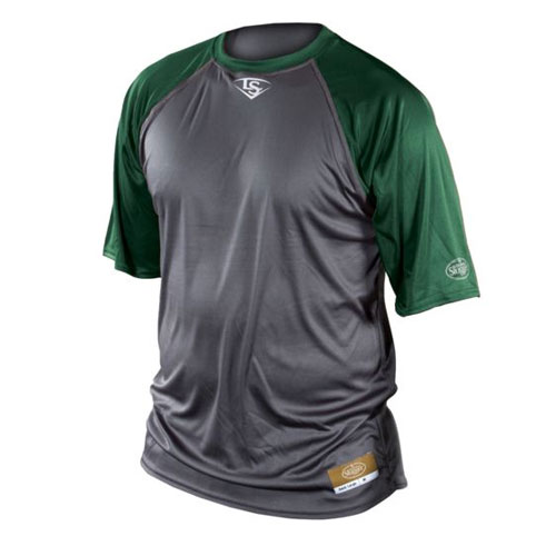 Youth Short Sleeve Slugger Raglan Shirt, Gray/Green, swatch