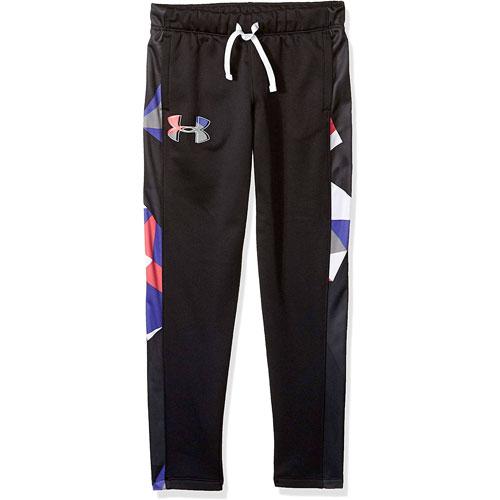 Girls' Armour Fleece Pant, Black/Pink, swatch