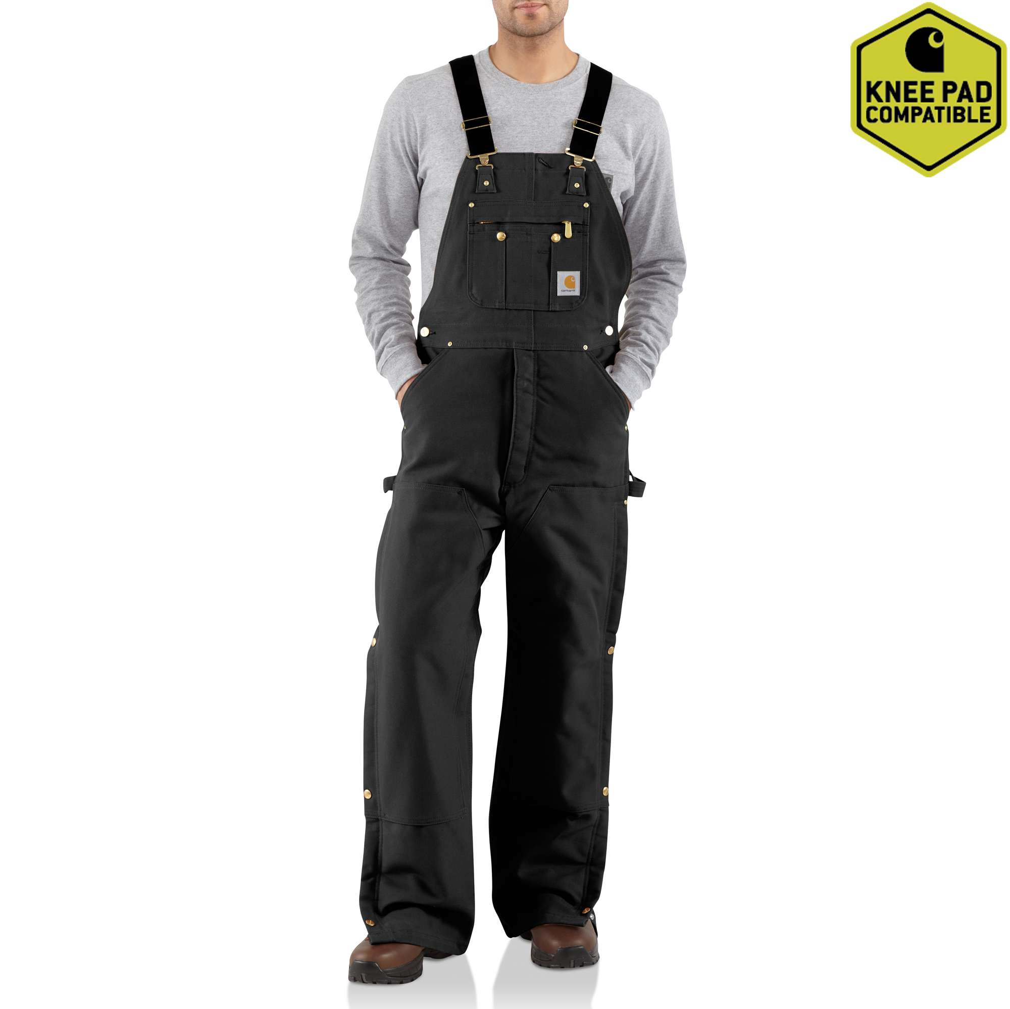 Men's Duck Zip-to-Thigh Bib Overall/Quilt Lined, Black, swatch
