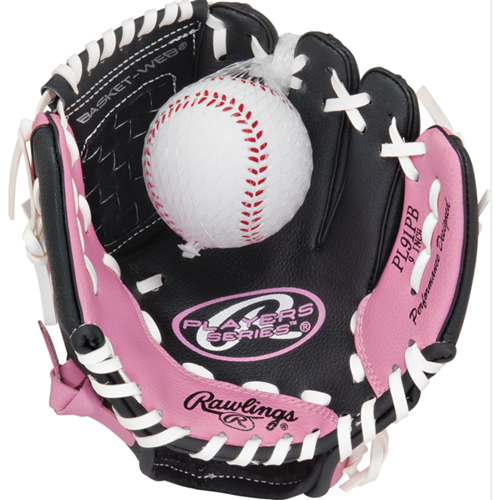 """Youth 9"""" Players Series Glove with Baseball, Pink, swatch"""