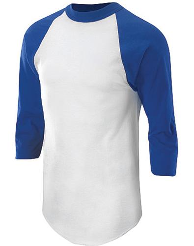 Adult 3/4 Sleeve Baseball Shirt, White/Royal, swatch