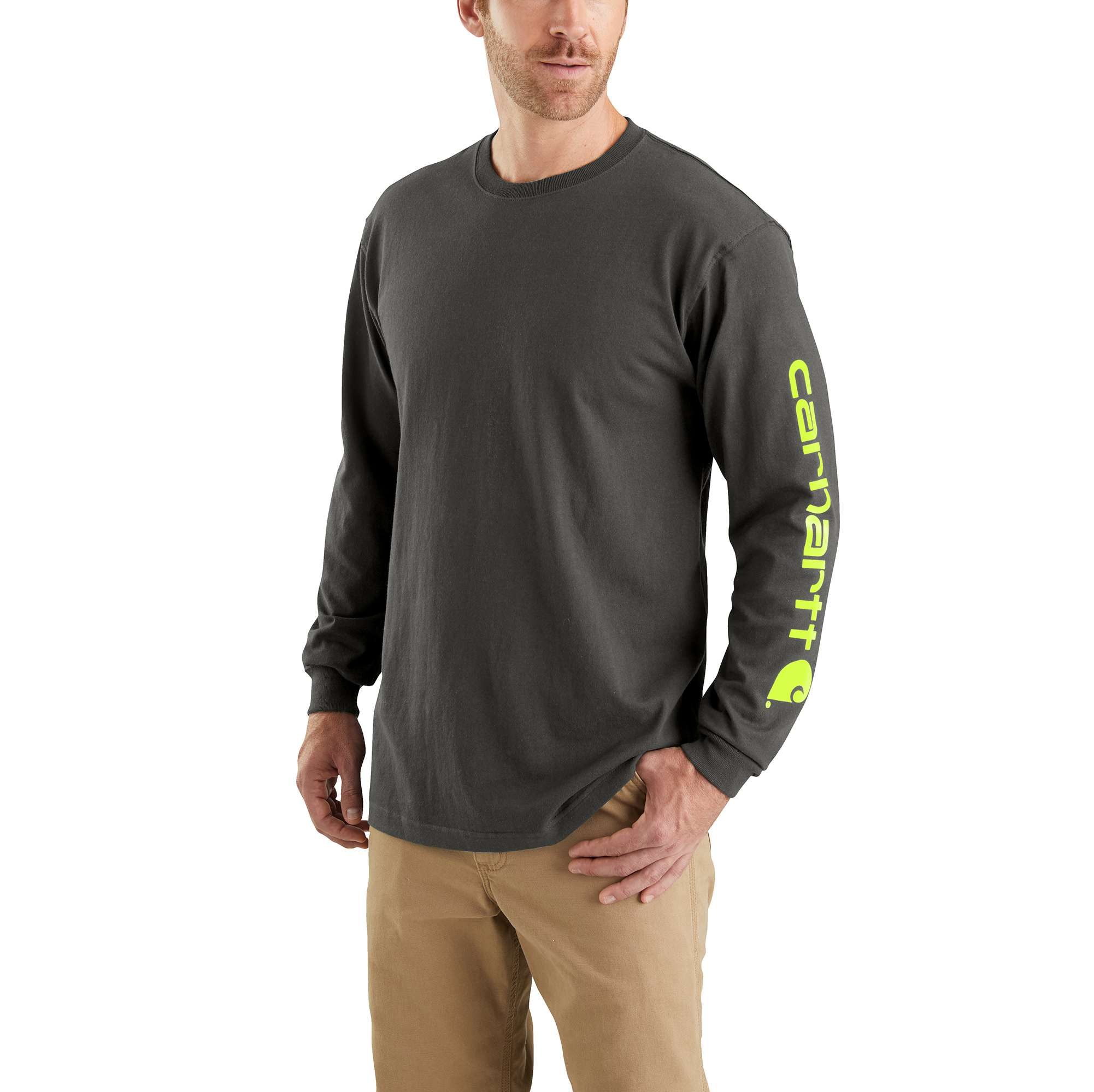 Men's  Long Sleeve Signature Logo Tall Tee, Brown, swatch