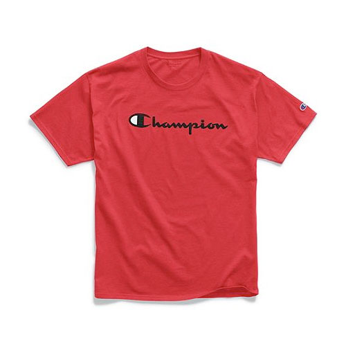 Men's Logo Print Crew Neck T-Shirt, Red, swatch