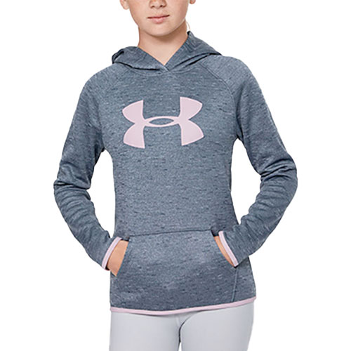 Girl's Armour Fleece Big Logo Twist Hoodie, Heather Gray, swatch