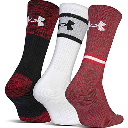 Men's Phenom Solid Crew Socks 3-Pack, Red/White, swatch