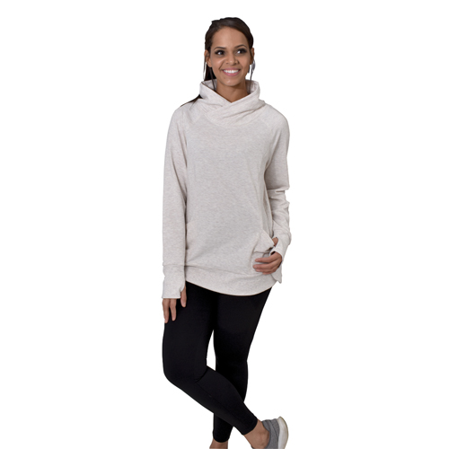 Women's Crossover Neck Pullover, Heather Gray, swatch