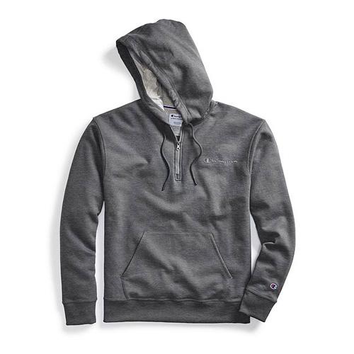 Men's Powerblend Embroidered Logo Fleece Quarter Zip Hoodie, Charcoal,Smoke,Steel, swatch