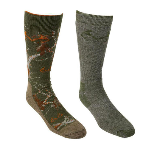 Men's Merino Wool Blend Boot Socks 2-Pairs, Black/Olive, swatch