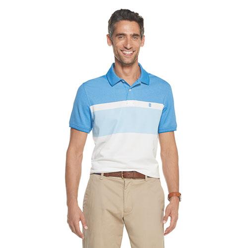 Men's Short Sleeve Advantage Color Block Polo, Blue, swatch