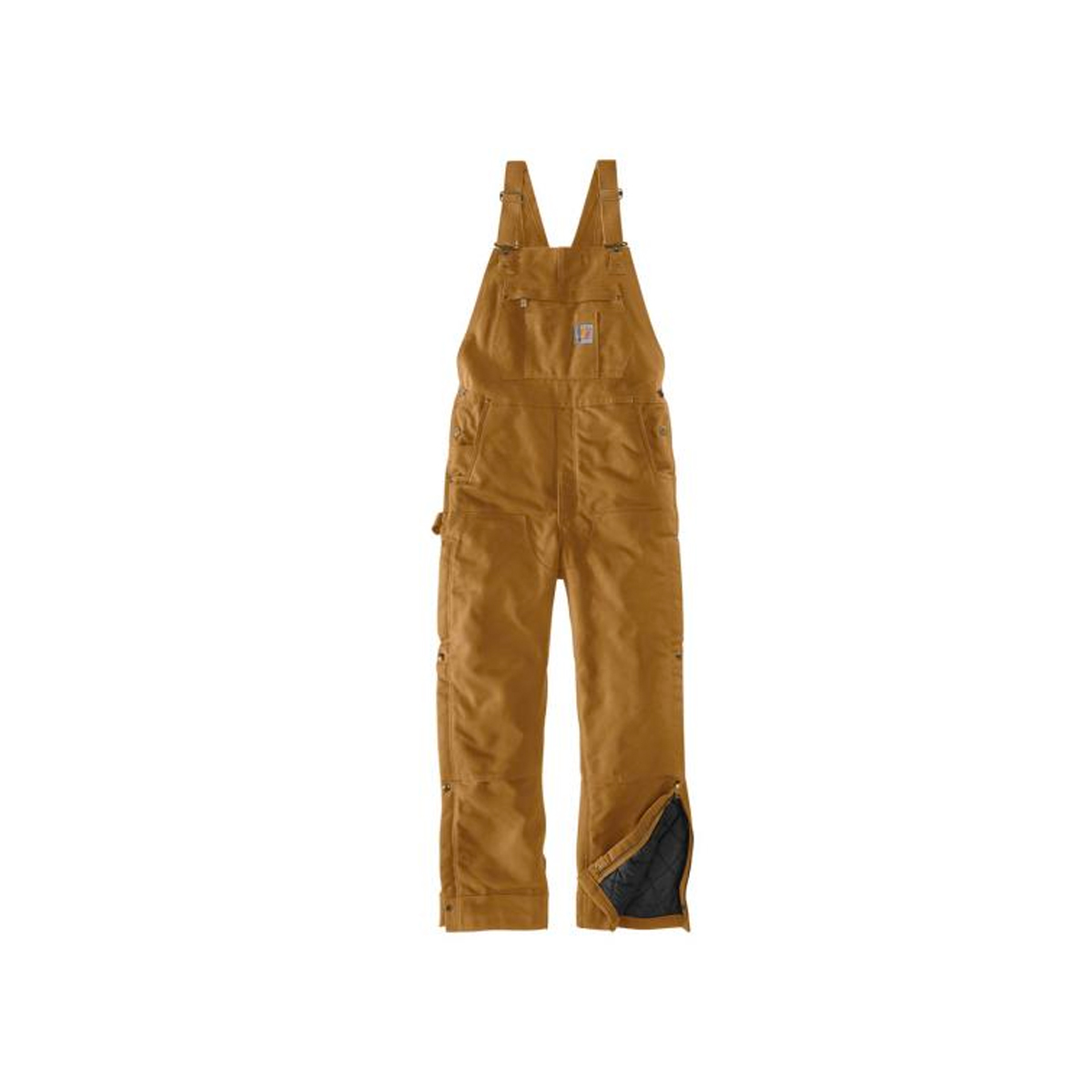 Men's Loose Fit Zip-to-Thigh Bib Overall, Wheat, swatch