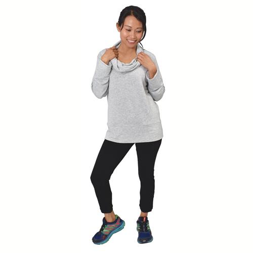 Women's Long Sleeve Pullover Fleece, Heather Gray, swatch