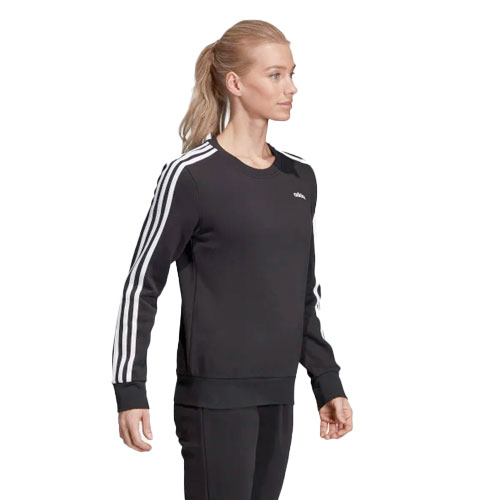 Women's Essentials 3-stripe Crewneck, Black/White, swatch