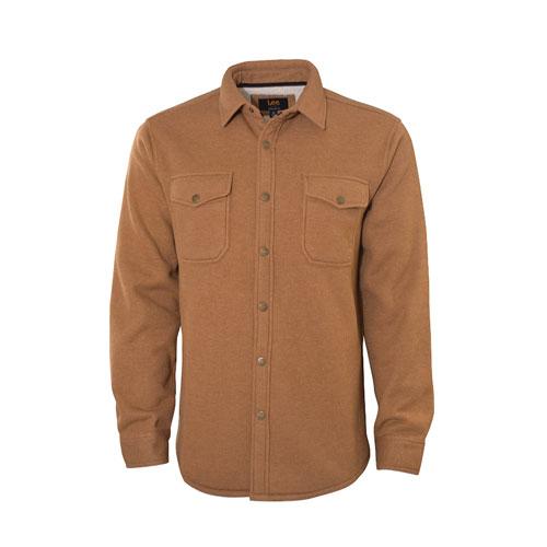 Men's Sherpa Thermal Shirt Jacket, Tan,Beige,Fawn,Khaki, swatch