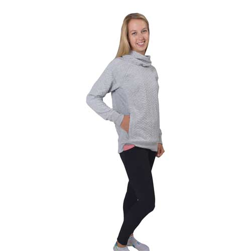 Women's Prime Quilted Cowl Neck Pullover Sweatshirt, Heather Gray, swatch