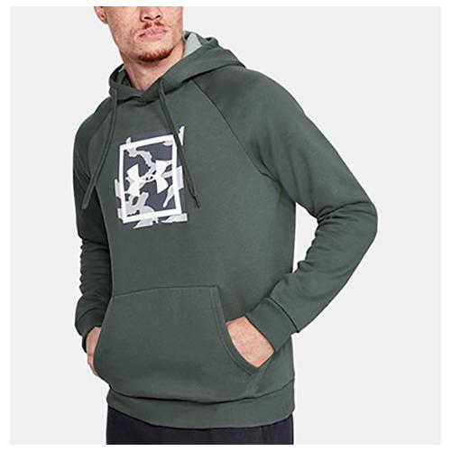 Men's Rival Fleece Printed Hoodie, Heather Gray, swatch