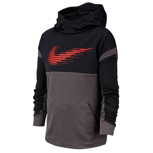 Boy's Therma Graphic Training Pullover Hoodie, Black, swatch