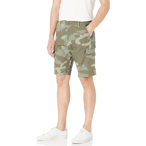 Men's Straight Fit Cargo Shorts, Camouflage Green, swatch