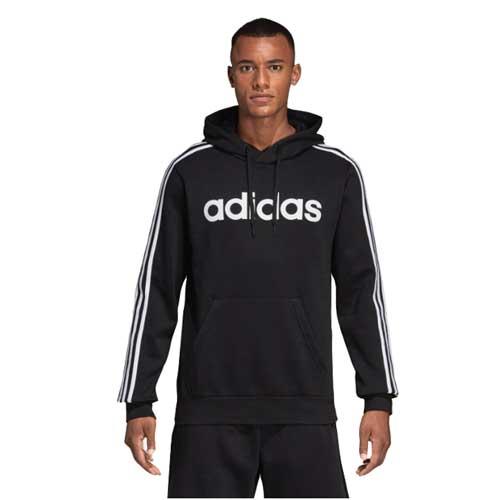 Men's Essentials 3-Stripes Pullover Hoodie, Black, swatch