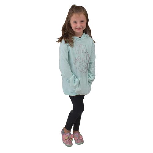 Girl's Fleece Hoodie, Turquoise,Aqua, swatch