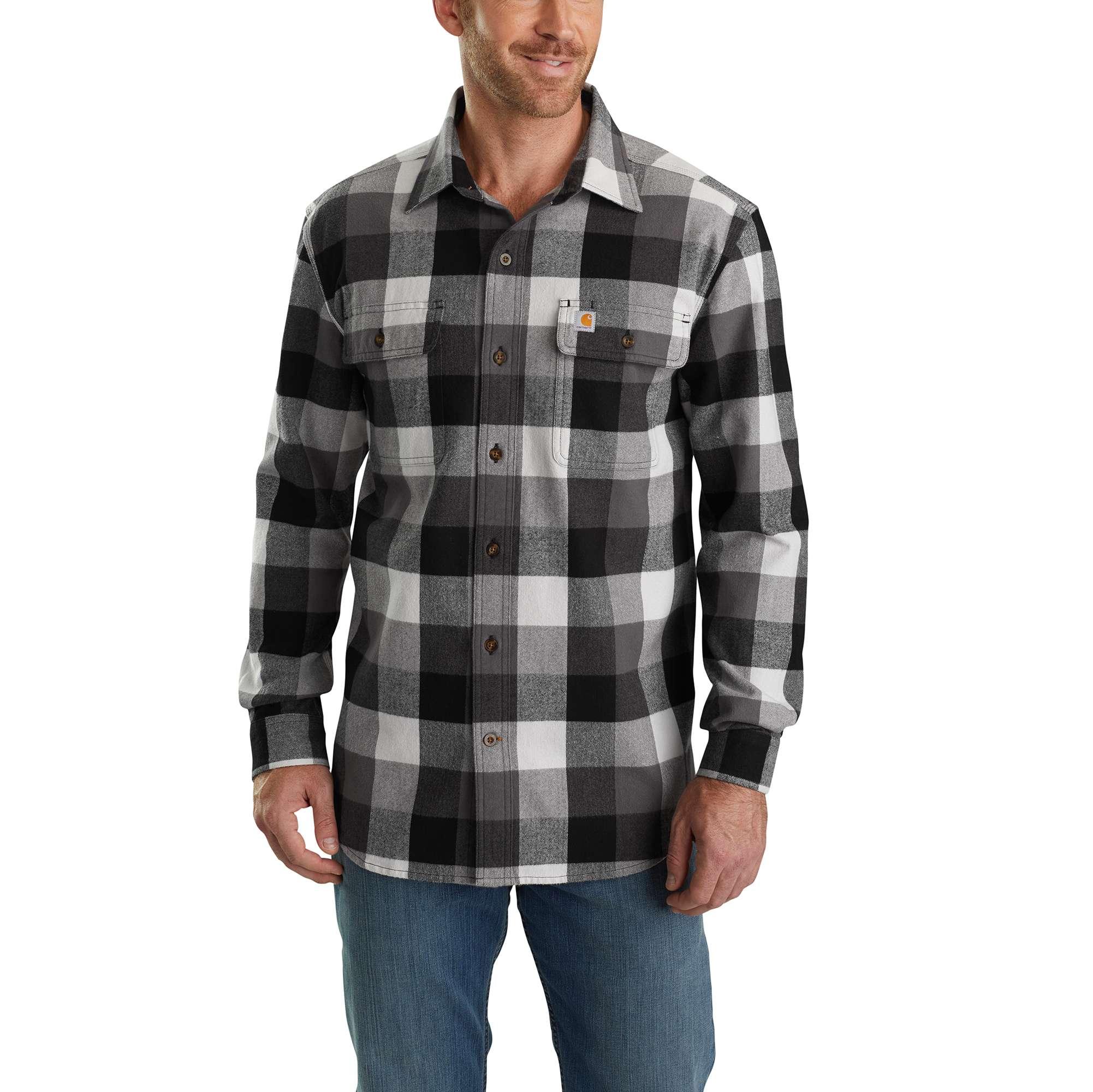 Men's Hubbard Plaid Long Sleeve Shirt, Gray, swatch