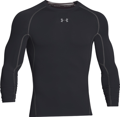 Men's HeatGear Armour Compression Long Sleeve Tee, Black, swatch