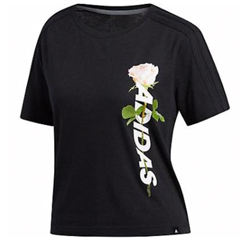 Women's Floral Crop Tee, Black, swatch