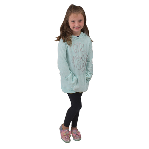 Girl's Fleece Hoodie, Turquoise,Aqua, swatch