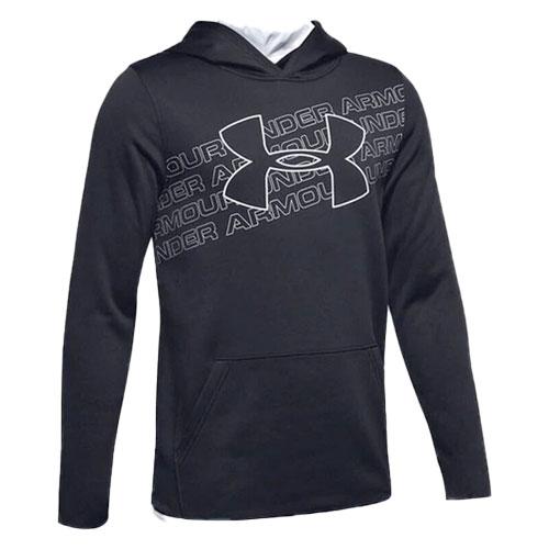 Boy's Armour Fleece Logo Hoodie, Black, swatch