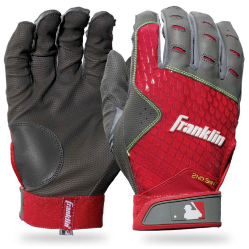 Youth 2nd Skinz Batting Gloves, Gray/Red, swatch