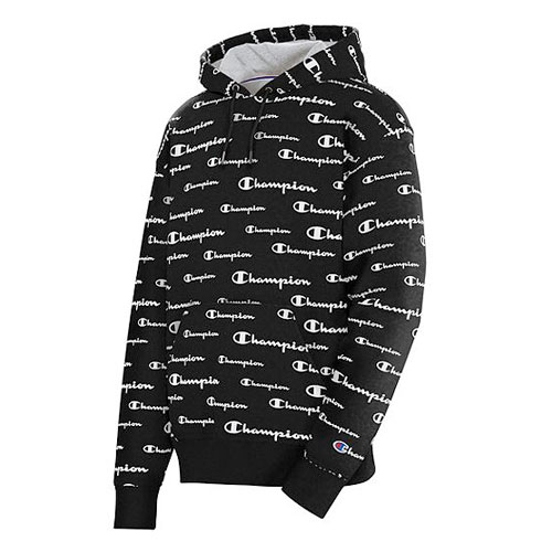 Men's Powerblend All-Over Print Hoodie, Black, swatch