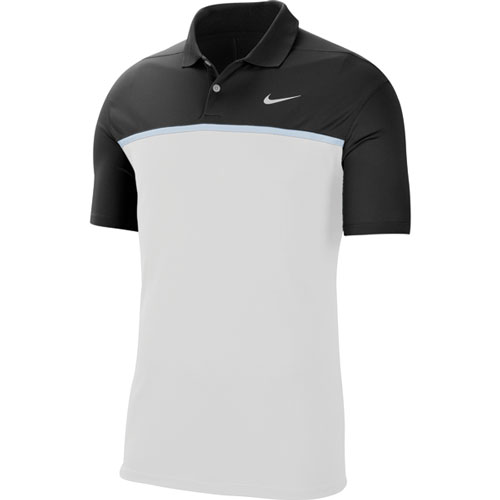 Men's Victory Color Block Polo Shirt, Black/White, swatch