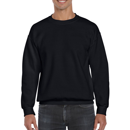 Men's Extended Size DryBlend Crewneck Sweatshirt, Black, swatch