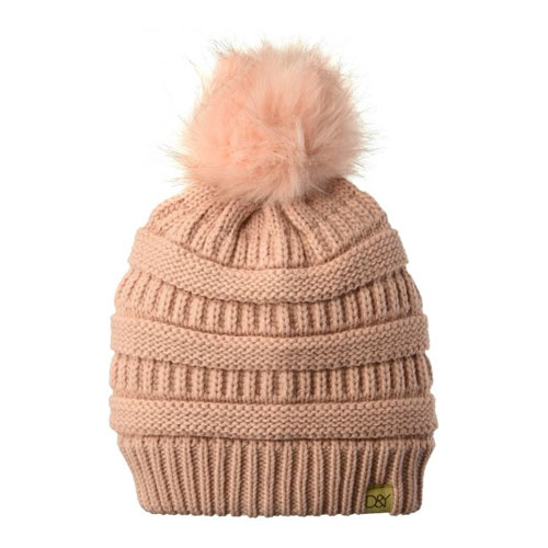 Women's Knit Beanie With Fur Pom, Pink, swatch