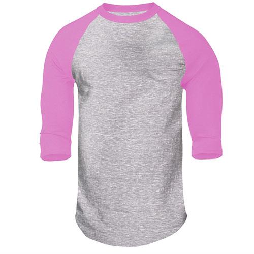 Boys' Heathered Baseball Tee, Gray/Pink, swatch