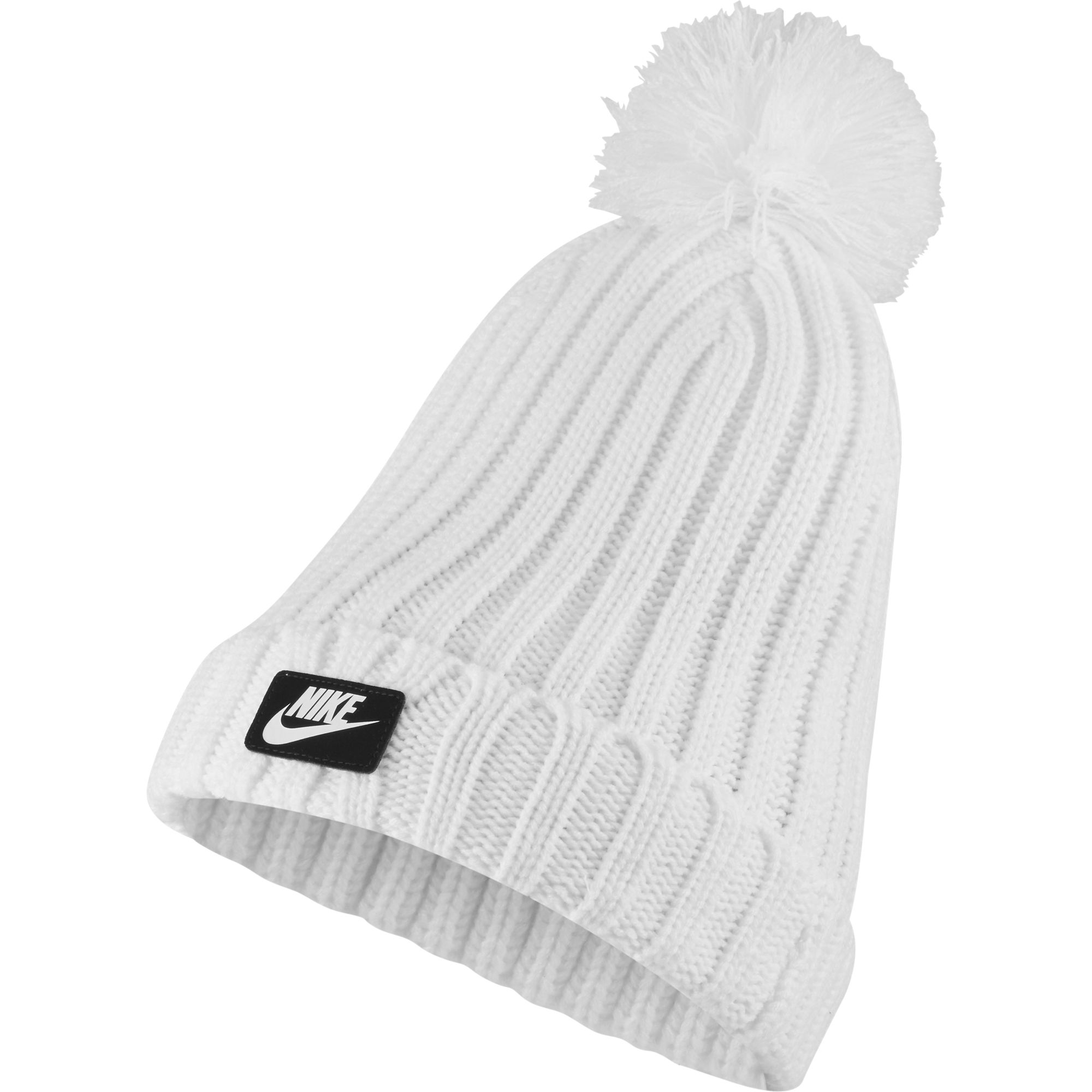 Women's Cuffed Pom Beanie, White, swatch