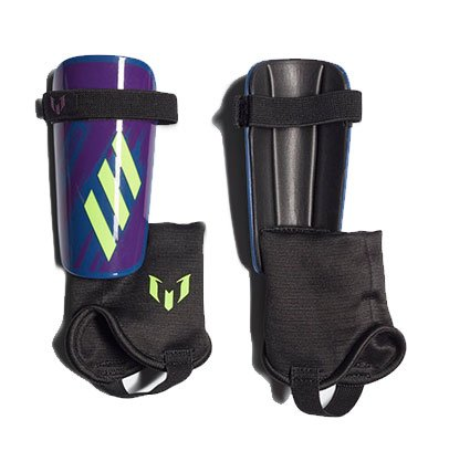 Youth Messi 10 Shin Guards, Purple/Green, swatch