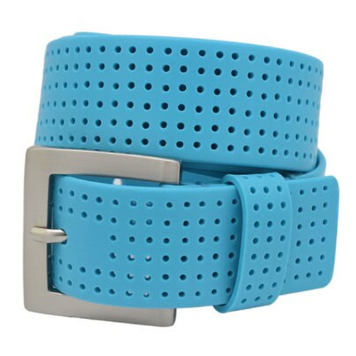 Men's Perforated Fashion Color Silicone Belt, Turquoise,Aqua, swatch