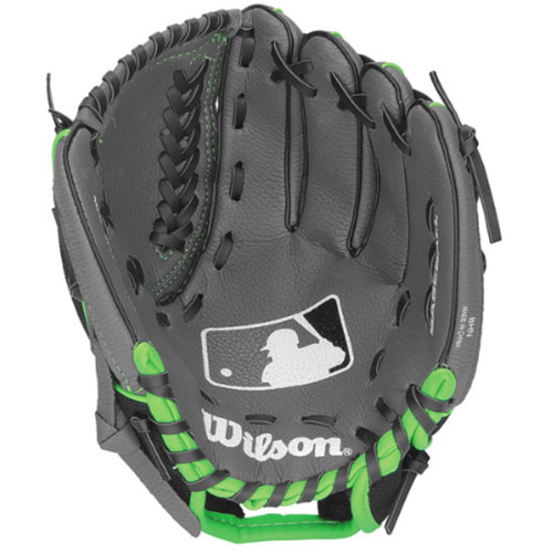 "Youth A150 MLB Series 10.5"" Baseball Glove, Black/Lime Green, swatch"