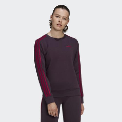 Women's Essentials 3 Stripes Sweatshirt, Purple, swatch