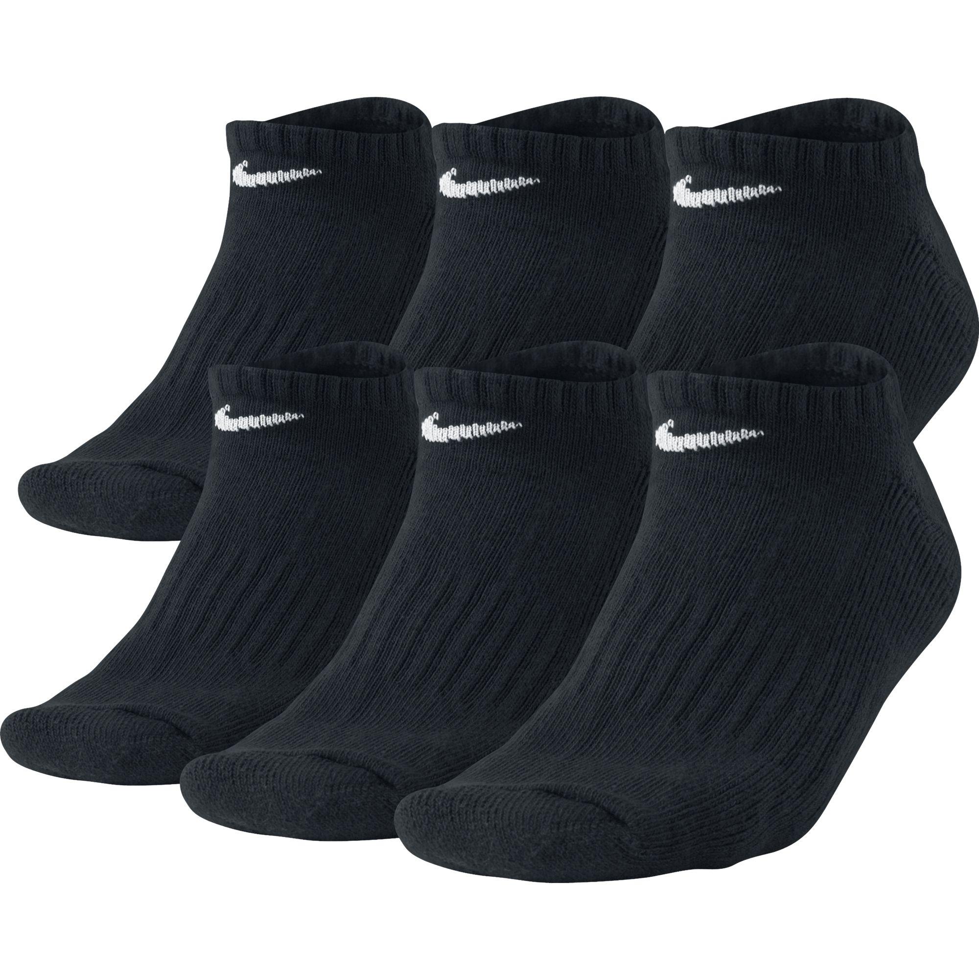 Unisex No Show Socks- 6 pack, Black, swatch