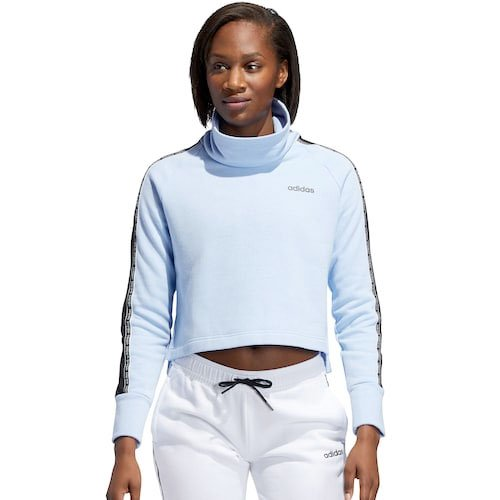 Women's Funnel Neck Fleece Sweatshirt, Blue, swatch