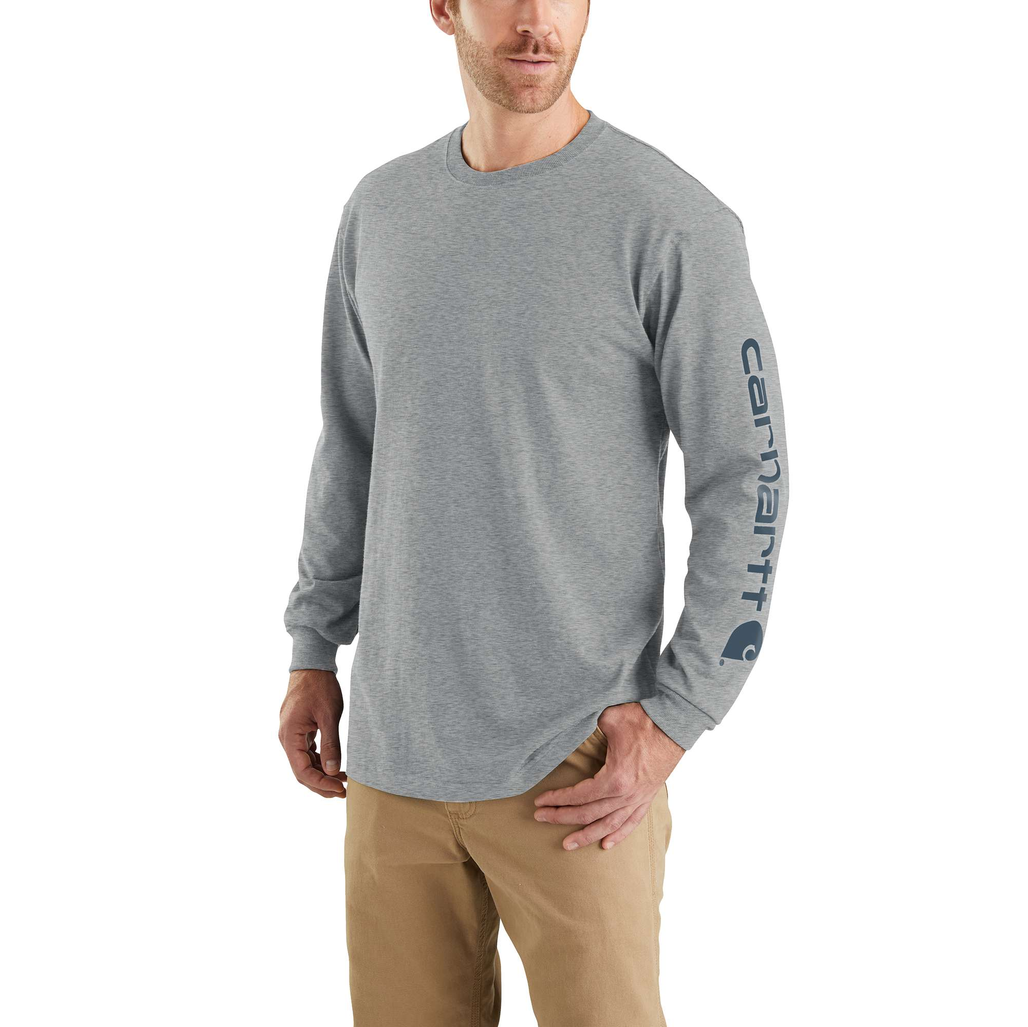 Men's Workwear Long-Sleeve Graphic Logo T-Shirt, Granite, swatch