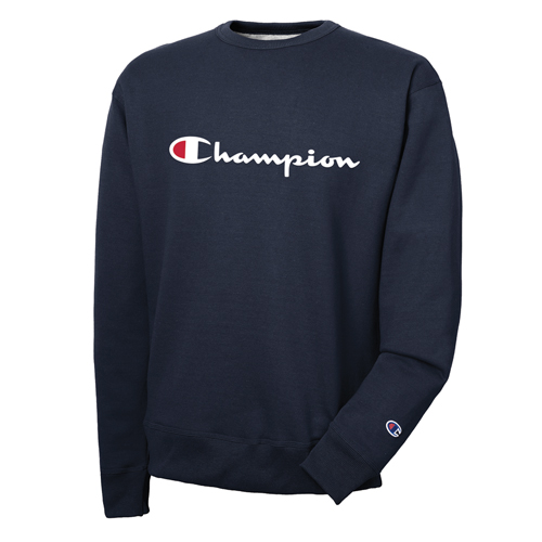 Men's Vertical Strip Powerblend Fleece Crewneck, Navy, swatch