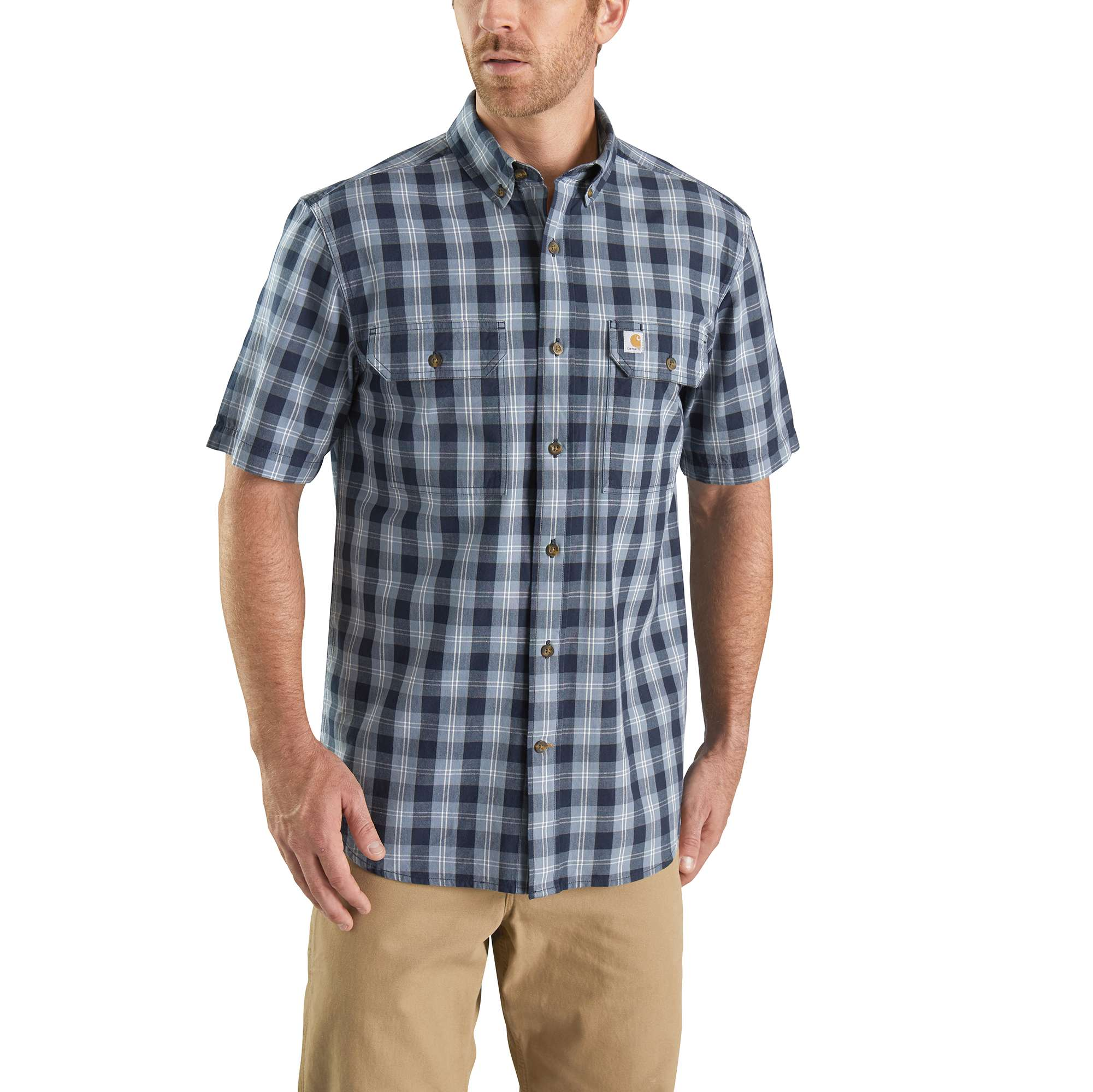 Men's Fort Plaid Chambray Short Sleeve Shirt, Navy, swatch
