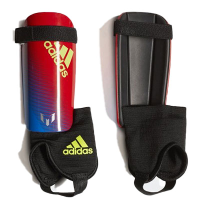 Youth Messi 10 Shin Guards, Blue/Red, swatch
