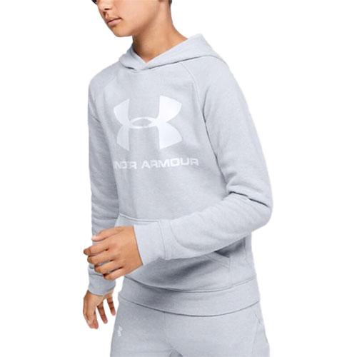 Boy's Rival Raglan Big Logo Hoodie, Heather Gray, swatch