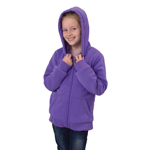 Girl's Sherpa Hooded Jacket, Purple, swatch