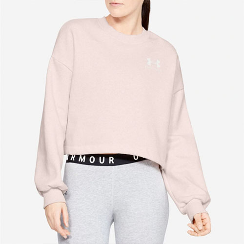 Women's Rival Graphic LC Fleece Crew Sweatshirt, Pink, swatch